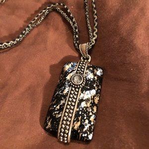 Jewelry - SOLD!!! Leopard enamel pendant on brass chains
